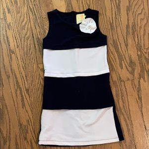 Navy blue and white striped dress 5T